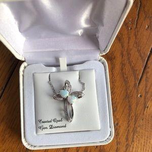 Jewelry - Duo-Stone Opal Cross Necklace